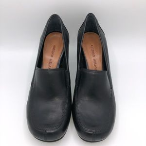 Antonio Melani Block Heel Black Loafers Size 6.5